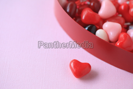 valentine heart candies with copy space