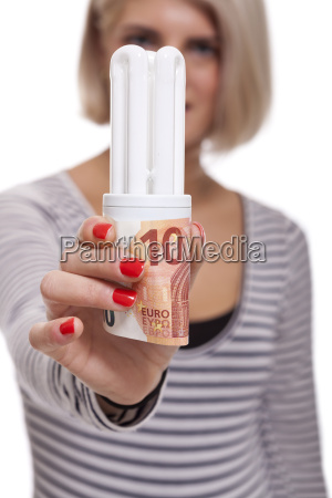 woman with light bulb energy saving