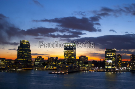 jersey city waterfront at sunset