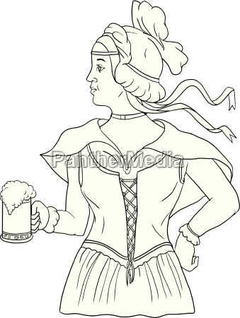 german barmaid serving beer drawing