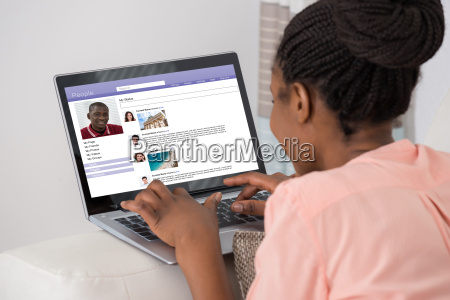 woman chatting on social networking site