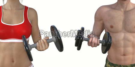 man and woman muscle training