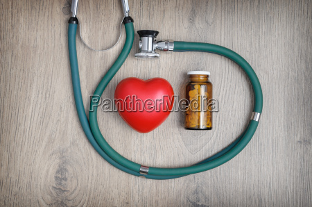 stethoscope pills and a heart