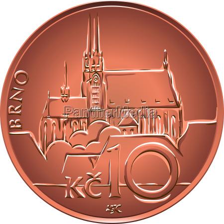 vector gold money ten czech crones