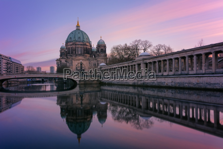 berliner dom at twilight in winter