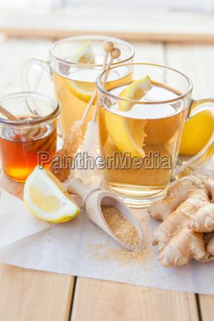 fresh tea with lemon