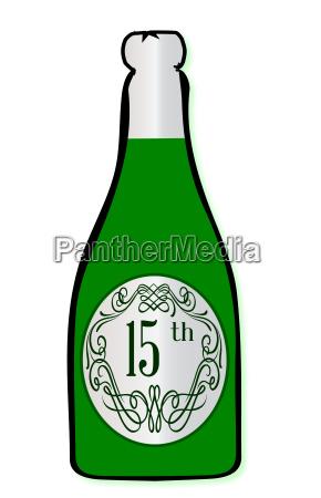 15th celebration wine bottle