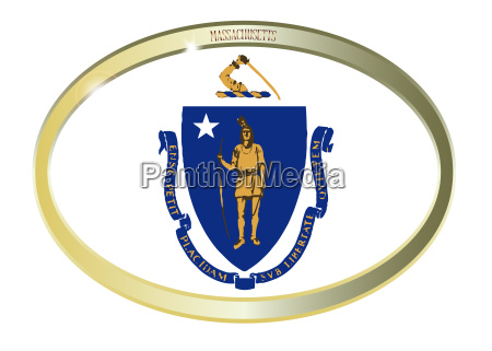 massachusetts state flag oval button
