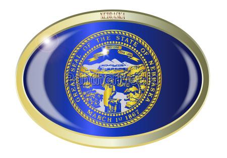 nebraska state flag oval button