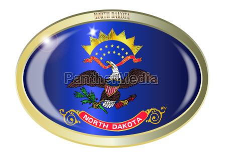 north dakota state flag oval button