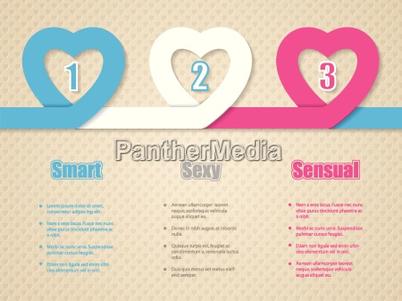 valentines day infographic with heart ribbon