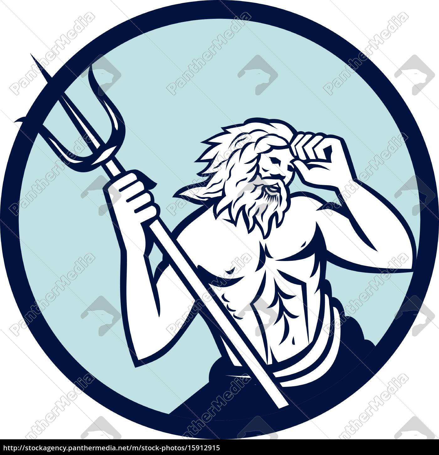 Royalty Free Vector 15912915 Poseidon Trident Circle Retro