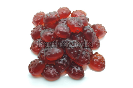 heap of gummi red strawberry jelly