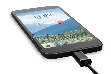 smart phone connected to charger