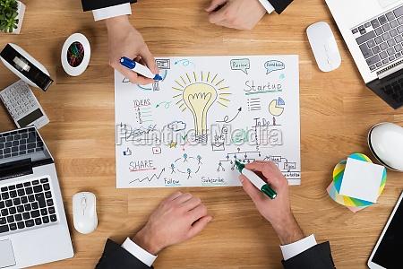 businessmen making strategy at wooden desk