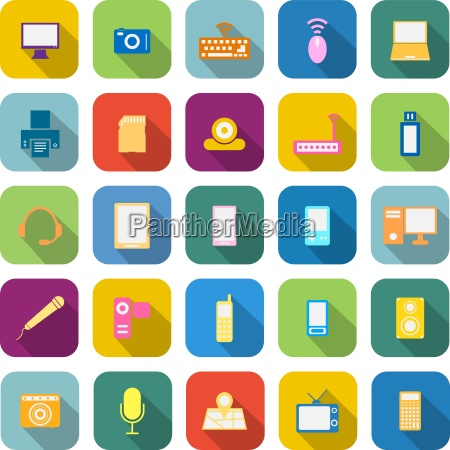 gadget color icons with long shadow
