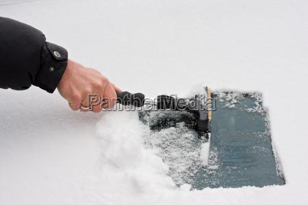 hand with ice scraper