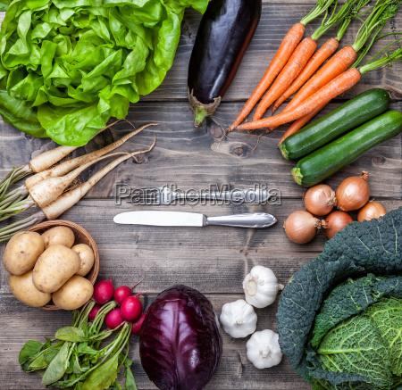 fresh organic bio vegetables on wooden
