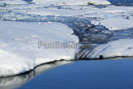 melting ice at glacier lagoon jokulsarlon