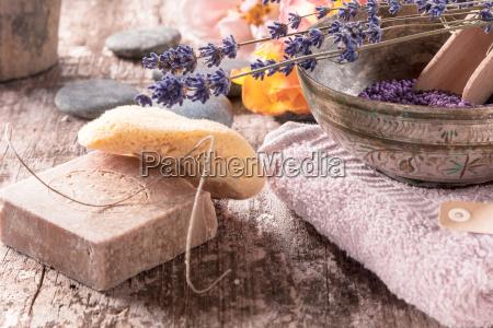 conceptual oriental bath supplements arrangement