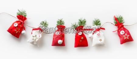 advent calendar stuffed sachets in a