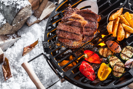 outdoors winter barbecue