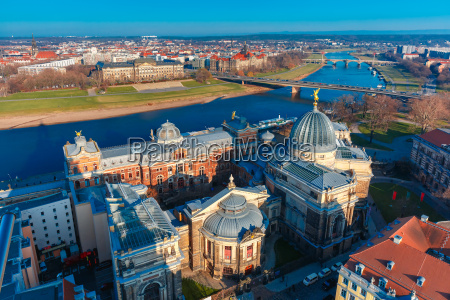 aerial view of elbe and roofs