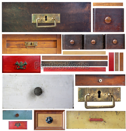 old drawers wooden strips and escutcheons