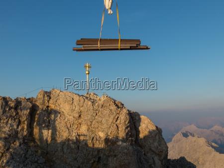 crane at the zugspitze in bavaria