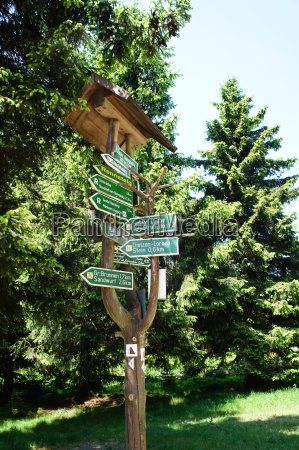 signpost in the thuringian forest