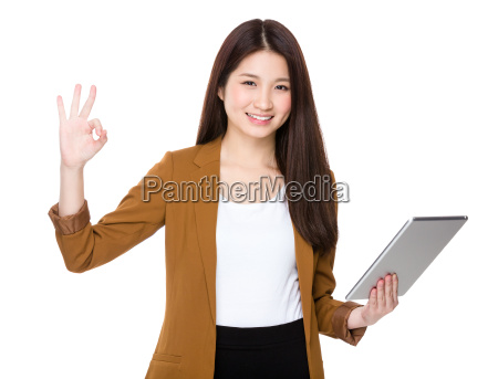 asian woman use of tablet and