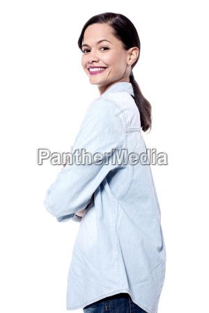 attractive girl posing to camera