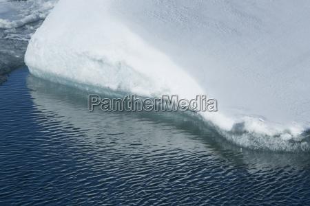 closeup of a ice floe melting