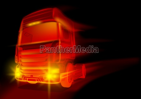 red glowing truck