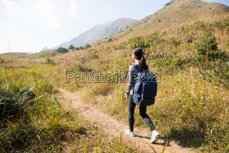 woman go hiking