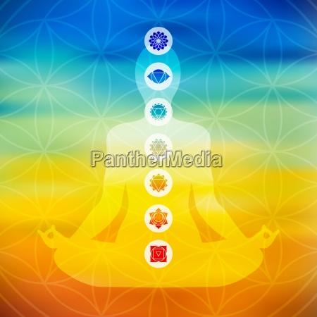 yoga pose with chakra icons