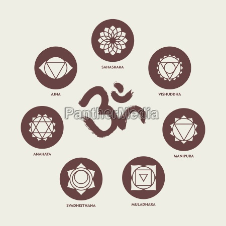 chakra icon set elements and om