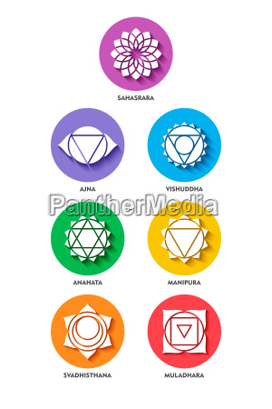 chakra icon color set flat style