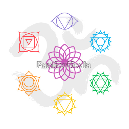 color chakra icon set outline with