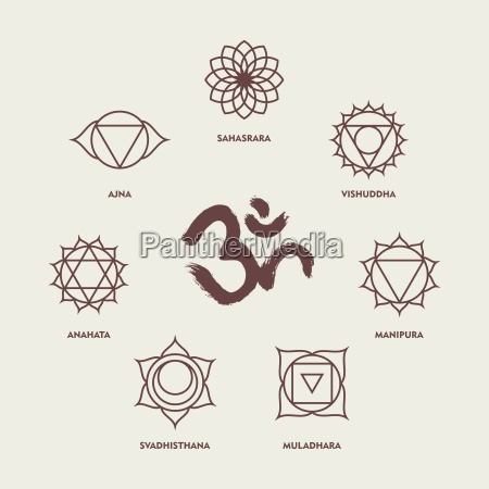 chakra symbols line style set and