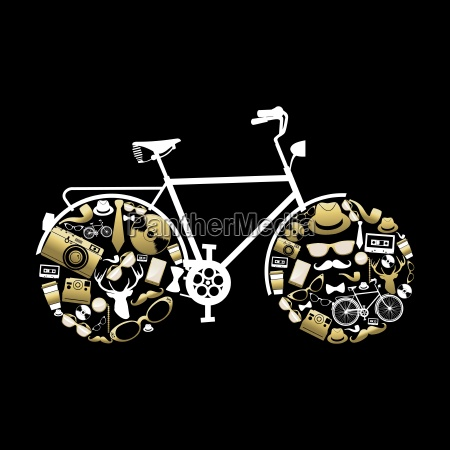 bike silhouette with hipster icons in