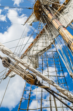 mast with sails of an old