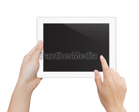 woman hand using digital tablet isolated
