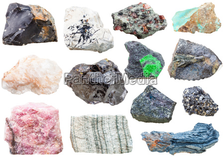 lot of natural mineral rock stones