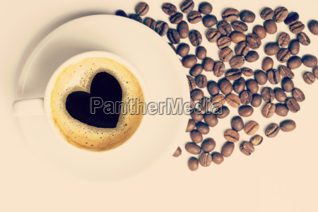 coffee cup with love heart shape