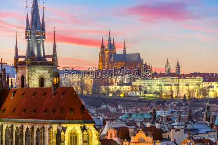 aerial view over old town at