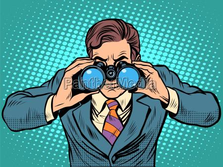 businessman looking through binoculars lead vision
