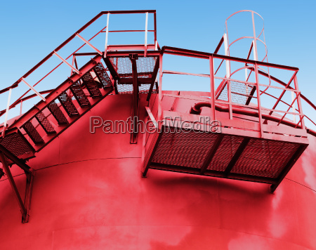 red fuel tank with a stairs