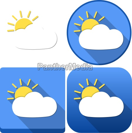 weather sun behind cloud icon pack