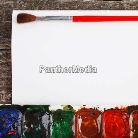 paints for painting and brush with